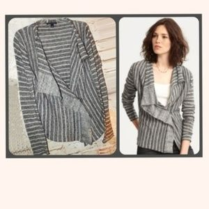 Cute Striped Gray Wool Blend Cardigan ~ L